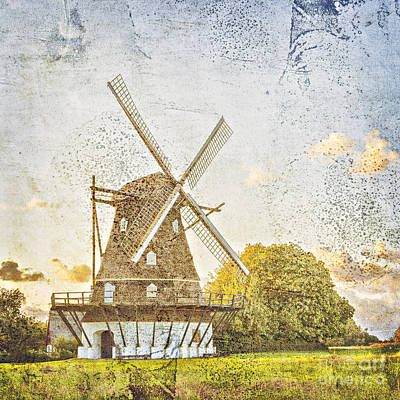 Old Windmill Vintage Styled Art Print by Sophie McAulay