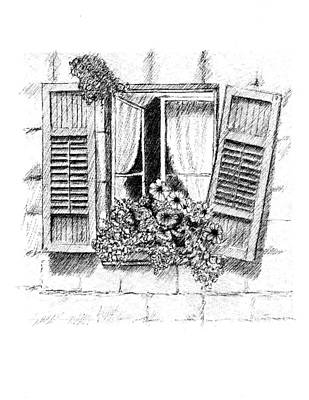 Drawing - Old Window by Al Intindola