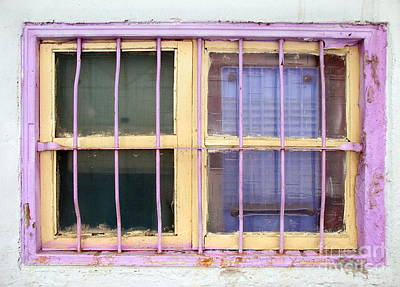 Photograph - Old Window Painted Yellow And Pink by Yali Shi