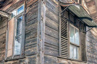 Photograph - Old Windows And Clapboards by Nadia Sanowar