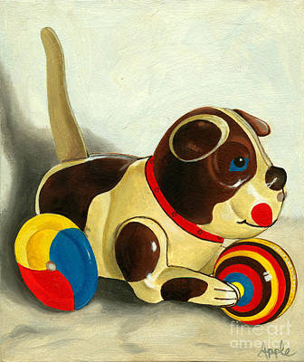 Old Windup Dog Toy Painting Art Print by Linda Apple