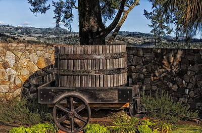 Wine Barrel Photograph - Old Wine Barrel And Wagon - Napa Valley by Mountain Dreams