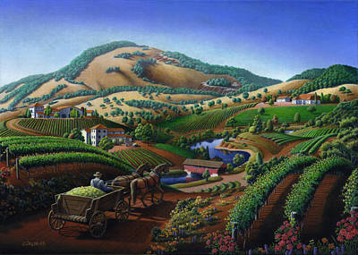 no 24 Greeting Card - Old Wine Country Landscape Painting Original by Walt Curlee