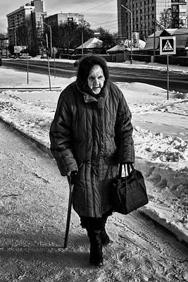 Photograph - Old Woman And The Snow by John Williams