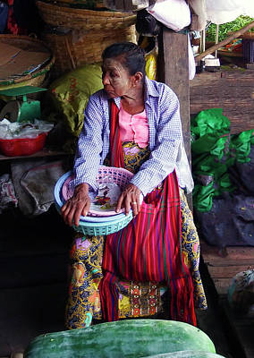 Photograph - Old Woman At Yangon Market by Kurt Van Wagner