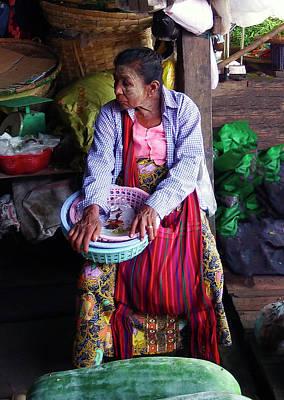 Photograph - Old Woman At Yangon Market by Kurt Van Wagner