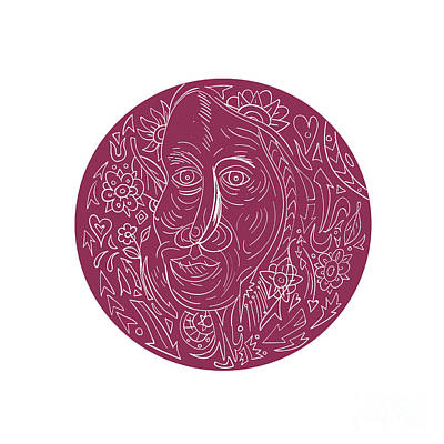 Old Woman Face Circle Mandala Art Print