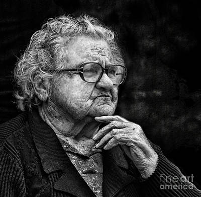 Photograph - Old Woman Lost In Thought by Stephan Grixti