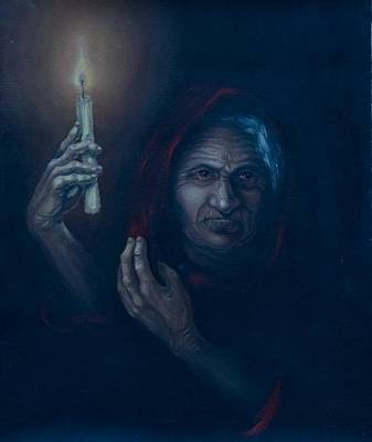 Candel Painting - Old Woman by Olesya Novik