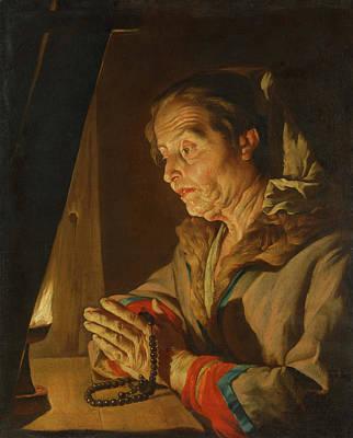 Painting - Old Woman Praying                                    by Matthias Stom