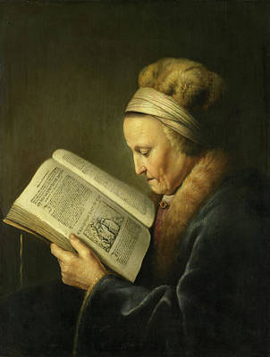 Dow Painting - Old Woman Reading A Lectionary by Gerrit Dou