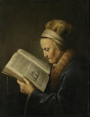 Old Woman Reading Art Print by Gerard Dou