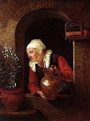 Digital Art - Old Woman Watering Flowers  by Gerrit Dou