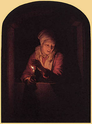 Digital Art - Old Woman With A Candle  by Gerrit Dou