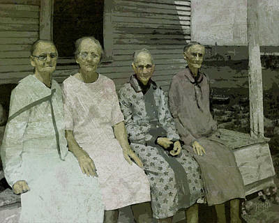 Digital Art - Old Women On Porch - The Memory Keepers by Rebecca Korpita