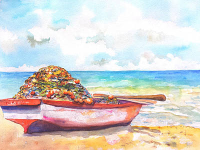 Painting - Old Wood Boat On Beach by Carlin Blahnik