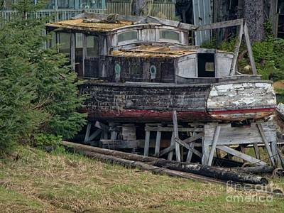 Photograph - Old Wood Boat Yard Dry Docked by Loriannah Hespe