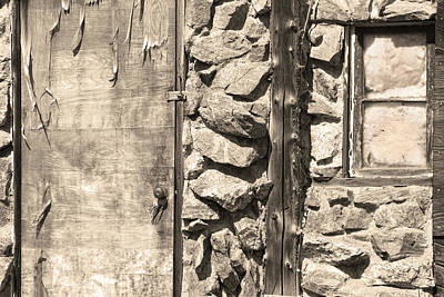 Photograph - Old Wood Door Window And Stone In Sepia Black And White by James BO  Insogna