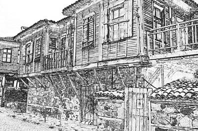Old Barn Drawing Digital Art - Old Wood House by PixBreak Art