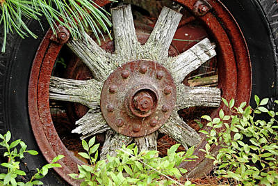 Photograph - Old Wood Spoke Wheel by Debbie Oppermann