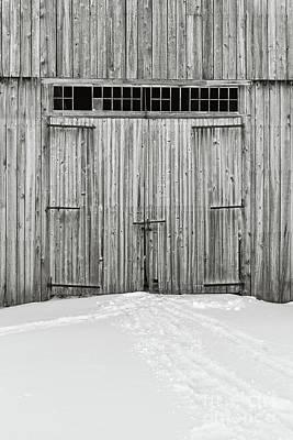 Old Wooden Barn Doors In The Snow Art Print