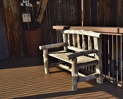 Waiting For The Sun Photograph - Old Wooden Bench by Linda Brody