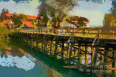Food And Beverage Digital Art - Old Wooden Bridge by Dragica Micki Fortuna