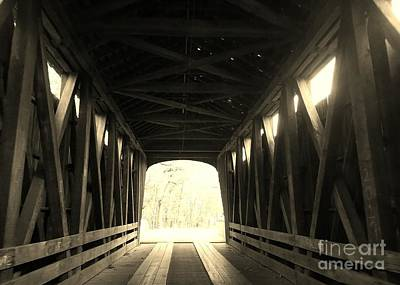Old Wooden Covered Bridge - Southern Indiana - Sepia Art Print