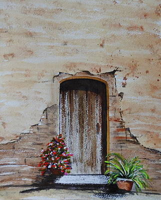 Wax Resist Painting - Old Wooden Door by Betty-Anne McDonald