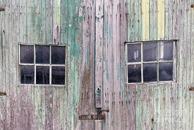 Photograph - Old Wooden Doors On A Garage Building by Edward Fielding