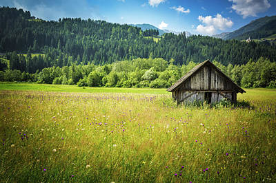 Photograph - Old Wooden Farm House In The Austrian Countryside by Alfio Finocchiaro
