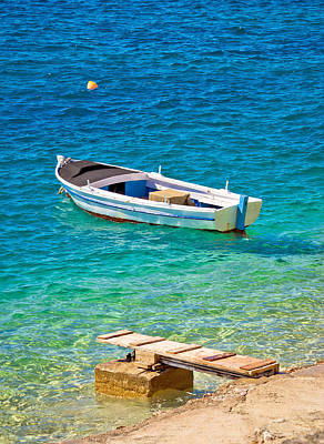 Old Wooden Fishermen Boat On Turquoise Beach Art Print