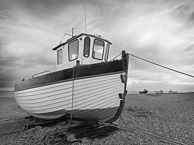 Photograph - Old Wooden Fishing Boat In Black And White by Gill Billington