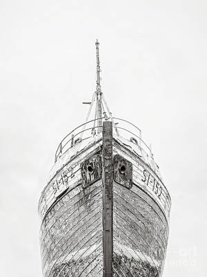 Photograph - Old Wooden Fishing Boat In The Fog Iceland by Edward Fielding