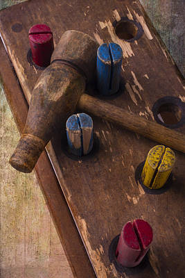 Hammer Photograph - Old Wooden Hammer Toy by Garry Gay