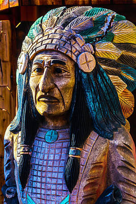 Peeling Painted Wood Wall Art - Photograph - Old Wooden Indian by Garry Gay