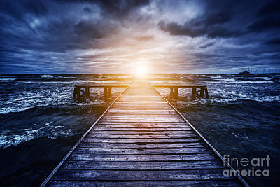 Lonely Photograph - Old Wooden Jetty During Storm On The Ocean by Michal Bednarek