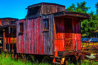 Caboose Photograph - Old Wooden Red Caboose by Garry Gay