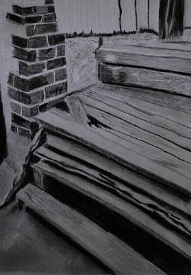 Drawing - Old Wooden Steps In Milang by Zilpa Van der Gragt