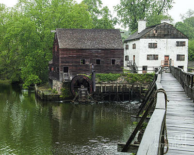 Old Wooden Water Wheel And Bridge  Art Print by Jerry Cowart
