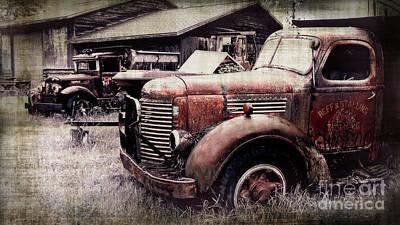 Old Work Trucks Art Print