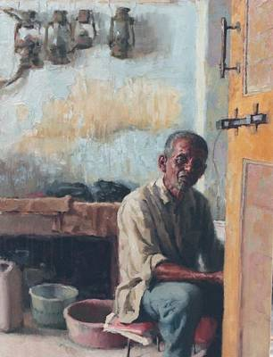 Asian Workers Painting - Old Worker by Snehal Page