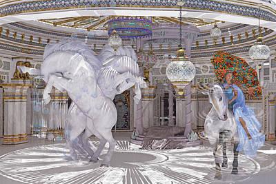 Animals Digital Art - Old World Lipizzaners  by Betsy Knapp