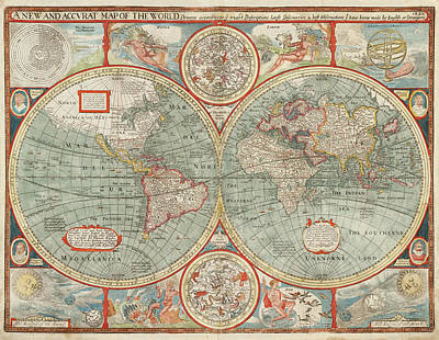 Drawing - Old World Map By John Speed - 1626 by Blue Monocle