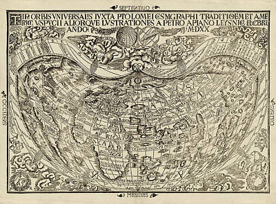 Drawing - Old World Map By Peter Apian - 1520 by Blue Monocle