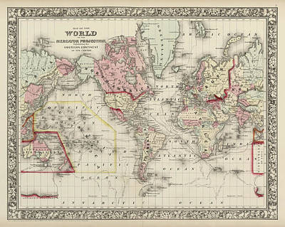 Drawing - Old World Map By Samuel Augustus Mitchell - 1860 by Blue Monocle