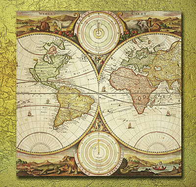 Digital Art - Old World Map On Gold by Ericamaxine Price