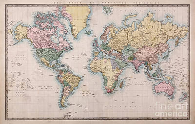 Old Map Photograph - Old World Map On Mercators Projection by Richard Thomas