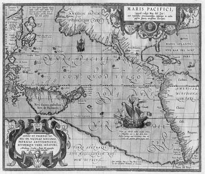 Drawing - Old World Map Print From 1589 - Black And White by Marianna Mills