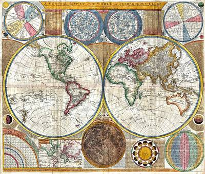 Print Mixed Media - Old World Map Print From 1794 by Marianna Mills